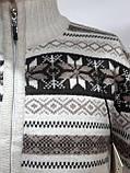 Мужской теплый шерстяной свитер со снежинками на молнии Турция Молочный, фото 6