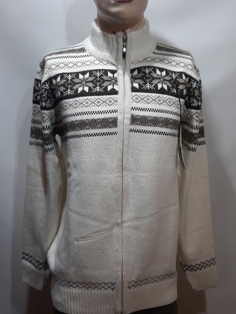 Мужской теплый шерстяной свитер со снежинками на молнии Турция Молочный