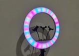 Кольцевая лампа 45 см RGB со штативом 2м для телефона, цветная лампа , кольцевой светодиодное led, фото 8