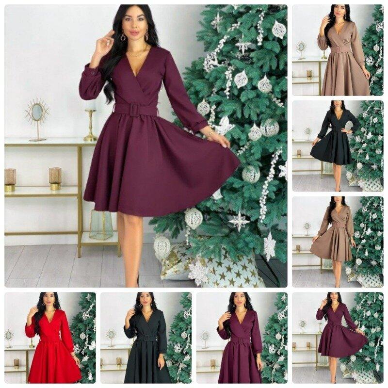 Нарядное женское платье бэби долл верх имитация на запах рукав длинный на манжете юбка солнце клеш