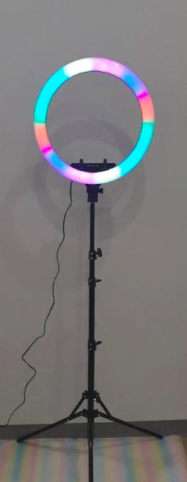 Кольцевая лампа 45 см RGB со штативом 2м для телефона, цветная лампа , кольцевой светодиодное led