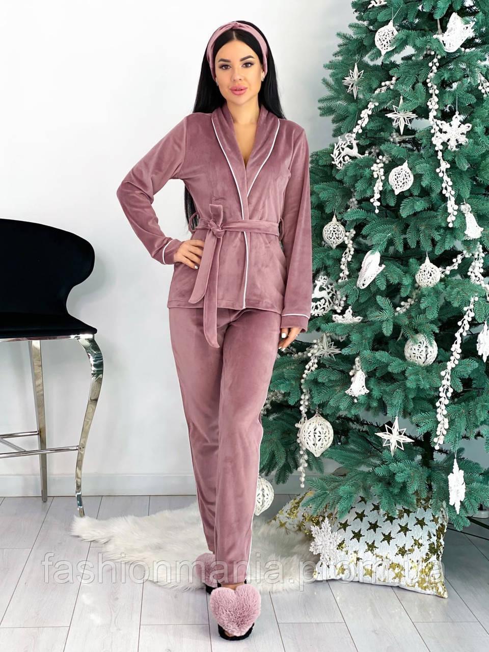 Костюм пижама женский с повязкой велюровый графит, пудра, бежевый, чёрный 42-44,46-48