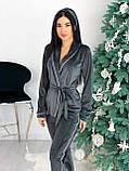 Костюм пижама женский с повязкой велюровый графит, пудра, бежевый, чёрный 42-44,46-48, фото 2