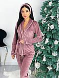 Костюм пижама женский с повязкой велюровый графит, пудра, бежевый, чёрный 42-44,46-48, фото 3