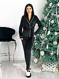 Костюм пижама женский с повязкой велюровый графит, пудра, бежевый, чёрный 42-44,46-48, фото 4