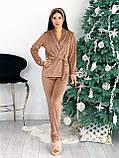 Костюм пижама женский с повязкой велюровый графит, пудра, бежевый, чёрный 42-44,46-48, фото 5