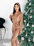 Костюм пижама женский с повязкой велюровый графит, пудра, бежевый, чёрный 42-44,46-48, фото 8