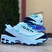 Женские кроссовки в стиле Skechers D'Lites, кожа, разноцветные 38(24 см), размеры:38,41