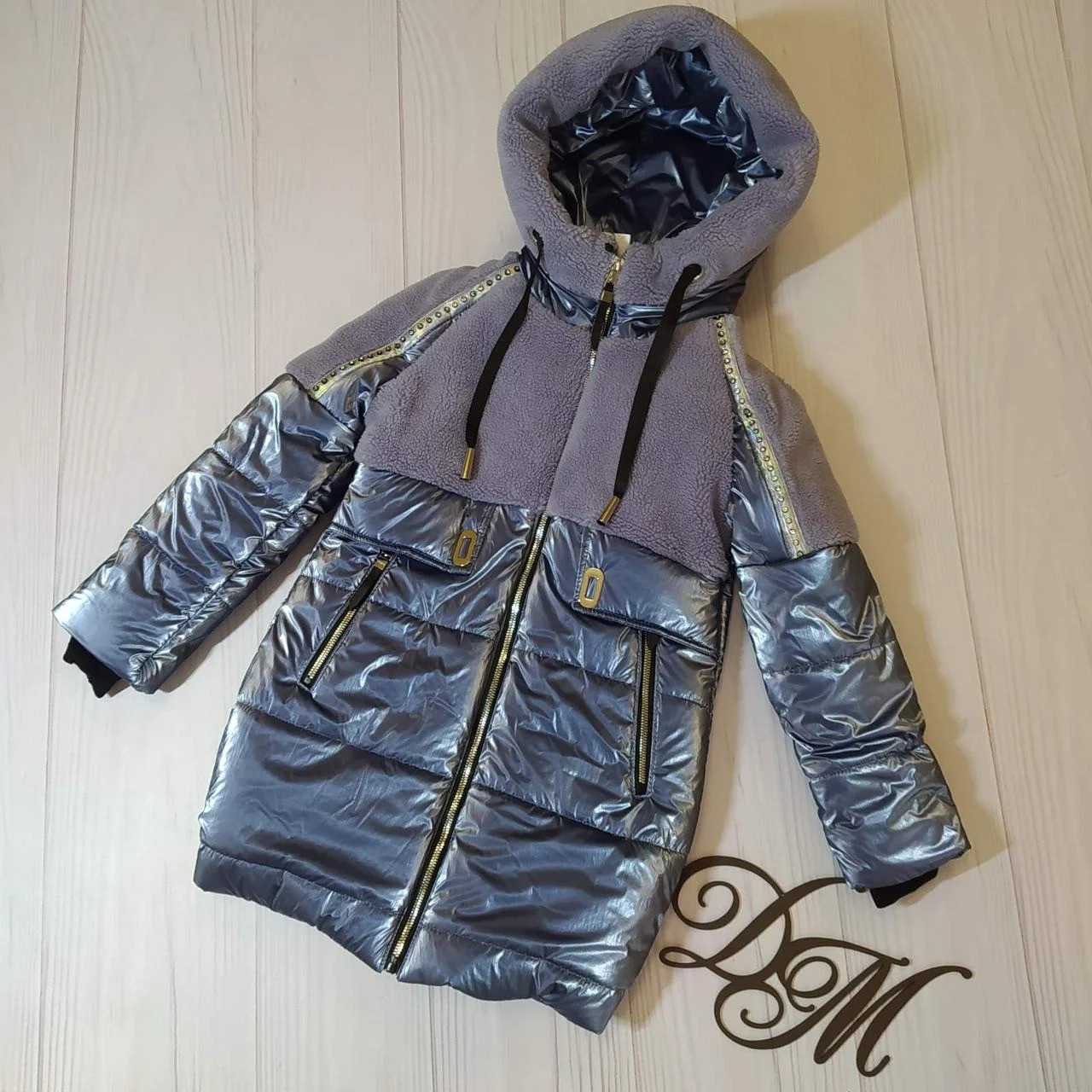 """Зимняя куртка для девочки """"Кира"""" с меховой отделкой, дымчатый"""