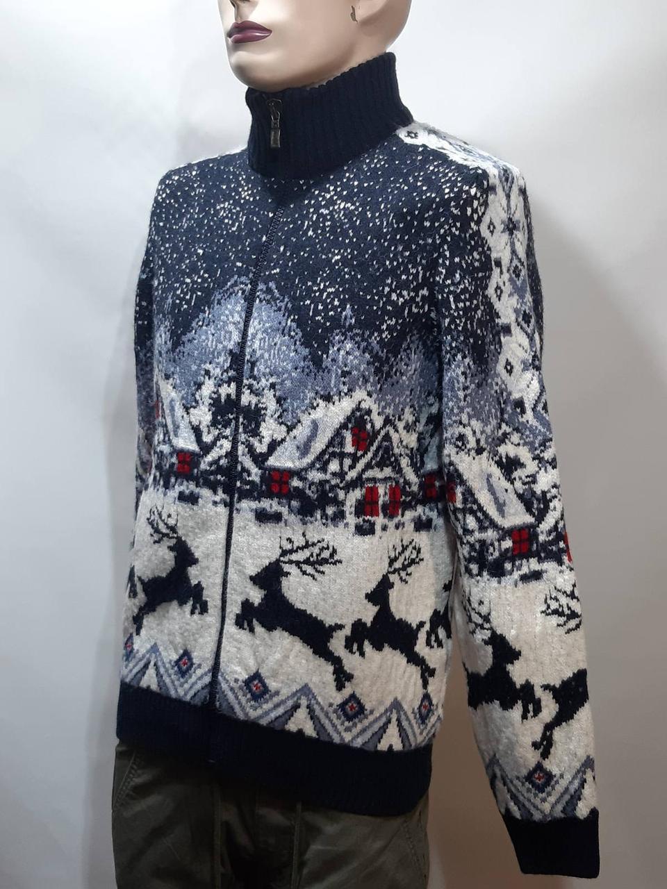 Мужской теплый свитер на молнии с оленями Турция Синий