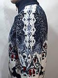 Мужской теплый свитер на молнии с оленями Турция Синий, фото 3