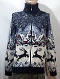 Мужской теплый свитер на молнии с оленями Турция Синий, фото 7
