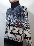 Мужской теплый свитер на молнии с оленями Турция Синий, фото 5