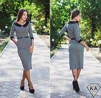 Платье женское шахматка,гусиная лапка чёрная миди