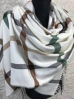 Зимний светлый шарф в клетку с бахромой Турция (цв.2)