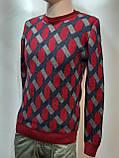 Мужской теплый шерстяной свитер Турция Красный, фото 5