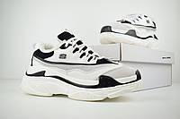Женские зимние кроссовки на меху в стиле Skechers D'Lites, кожа, белые с черным 38 (23,5 см), размеры:38,40