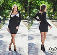 Платье женское Белый бант на груди чёрное