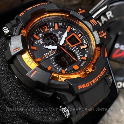 Часы наручные черные Casio G-Shock GW-A1100 Black-Orange / касио джишок черные с оранжевым