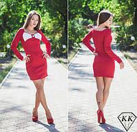 Платье женское Белый бант на груди красное