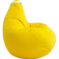 Грушоподібної Безкаркасне Крісло мішок Груша, Пуф стандартний доросла XL 120х90 см,Жовтий пуфик