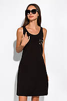 Женское летнее платье черное, с бусинками на кармане, повседневное casual, приталенный покрой, платье-трапеция