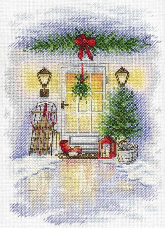 Набір для вишивки хрестом М.П.Студія А-018 «Новорічна двері»