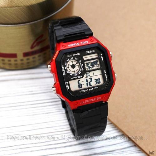 Часы наручные черные Casio AE-1200 Black-Red / касио джишок черные с красным