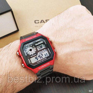 Часы наручные черные Casio AE-1200 Black-Red / касио джишок черные с красным, фото 2
