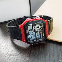 Часы наручные черные Casio AE-1200 Black-Red / касио джишок черные с красным, фото 3