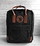 Модный рюкзак сумка женский, для девочки канкен Fjallraven Kanken classic 16 л. черный с коричневыми ручками, фото 3