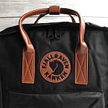 Модный рюкзак сумка женский, для девочки канкен Fjallraven Kanken classic 16 л. черный с коричневыми ручками, фото 4