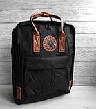Модный рюкзак сумка женский, для девочки канкен Fjallraven Kanken classic 16 л. черный с коричневыми ручками, фото 5