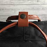 Модный рюкзак сумка женский, для девочки канкен Fjallraven Kanken classic 16 л. черный с коричневыми ручками, фото 8