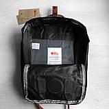 Модный рюкзак сумка женский, для девочки канкен Fjallraven Kanken classic 16 л. черный с коричневыми ручками, фото 10