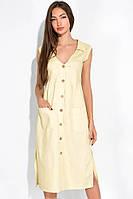 Летнее женское платье, светло-желтое, с пуговицами и карманами, повседневное, приталенное, платье-трапеция