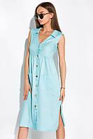 Летнее женское платье, голубое, повседневное (casual), приталенный покрой, с пуговицами