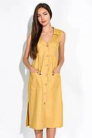 Женское летнее платье горчичное, с пуговицами, с карманами, повседневное (casual), приталенный покрой