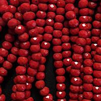"""Бусины """"рондель"""" хрустальные на нитке d-6 мм стекло полу матовый цвет красный рябиновый L-41см купить оптом в"""