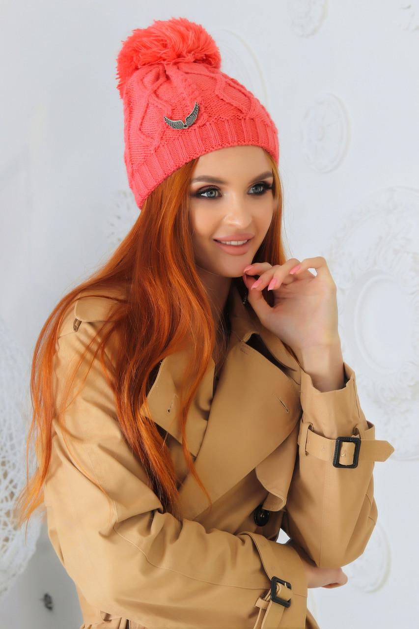 Женская вязаная шапка с помпоном в расцветках (DG-АК 2035)