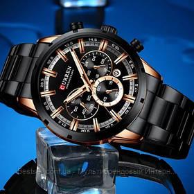 Оригинальные мужские часы стальной ремешок Curren 8355 Black -Cuprum / Часы Курен / Видеообзор