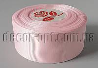 Лента репсовая оттенок светло-розового 4 см 25 ярд арт.061