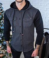 Мужская кофта на пуговицах с капюшоном черная/ 3 цвета в наличии