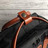 Женский рюкзак-сумка канкен черный 16 л. с коричневыми ручками Fjallraven Kanken classic No2, фото 7