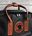 Женский рюкзак-сумка канкен черный 16 л. с коричневыми ручками Fjallraven Kanken classic No2, фото 6