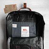 Женский рюкзак-сумка канкен черный 16 л. с коричневыми ручками Fjallraven Kanken classic No2, фото 9