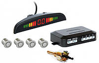 Парктроник автомобильный PAssistant на 4 датчика + LCD монитор (серебристые датчики) (4903)