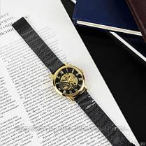 Оригінальні чоловічі наручні годинники шкіряний ремінець Forsining 319 Black-Silver-Black, фото 2