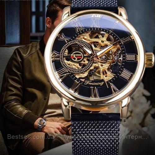 Оригинальные женские наручные часы стальной ремешок  Forsining 1040 Black-Gold-Black (Видеообзор краткий)