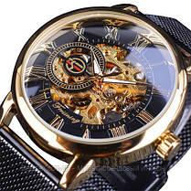 Оригінальні чоловічі наручні годинники шкіряний ремінець Forsining 319 Black-Silver-Black, фото 3